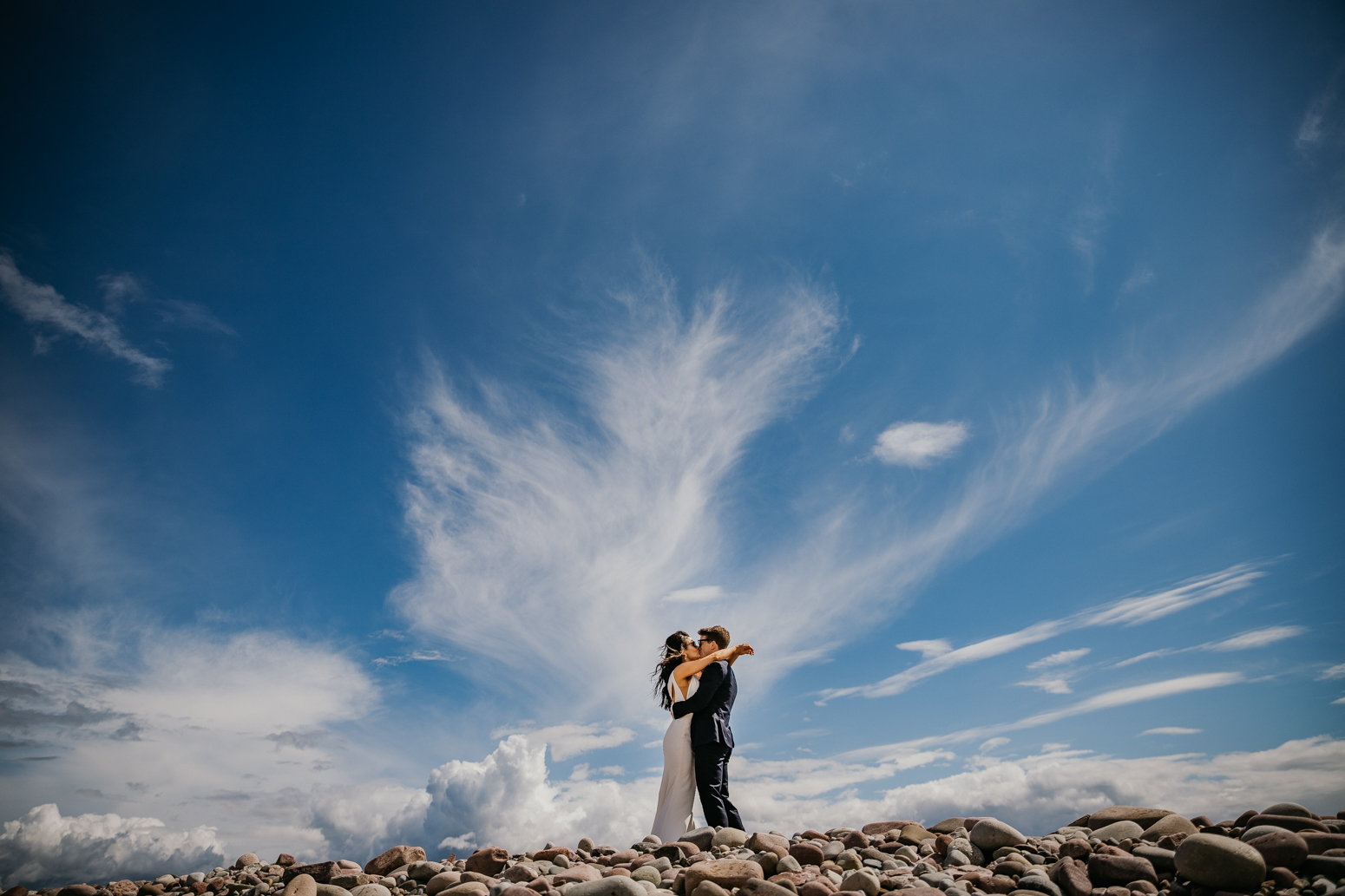couple on the rock at Mulranny Beach