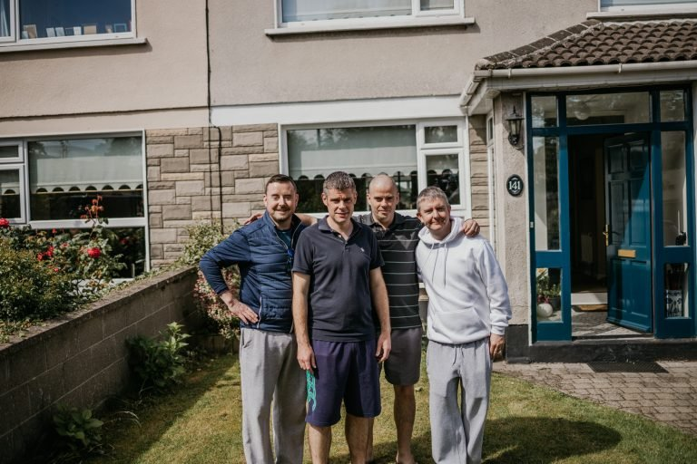 groom and his groomsmen before they get ready by Darren Byrne wedding photographer
