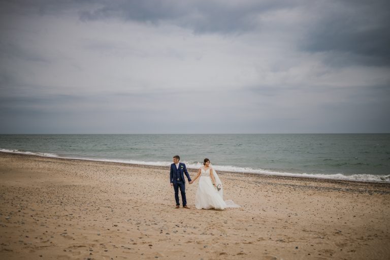 Beach photo at wedding in Ireland by Darren Byrne photography