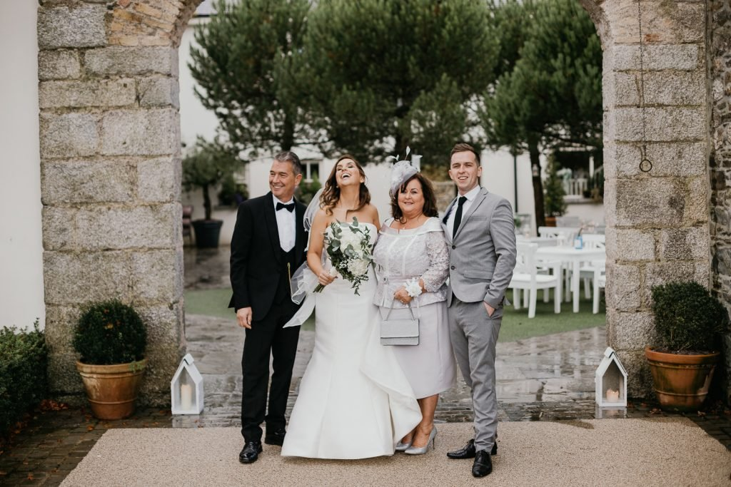 family photo at a real wedding in Tulfarris Hotel Resort iIreland