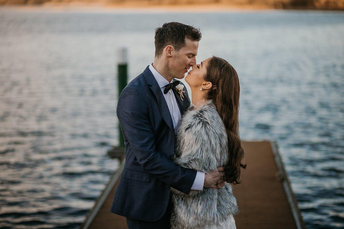 Darren Byrne - bride and groom kissing in a real wedding at Kilronan Castle